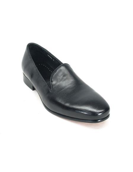 Men's Carrucci Slip On Comfort Black Leather Fashionable Loafer