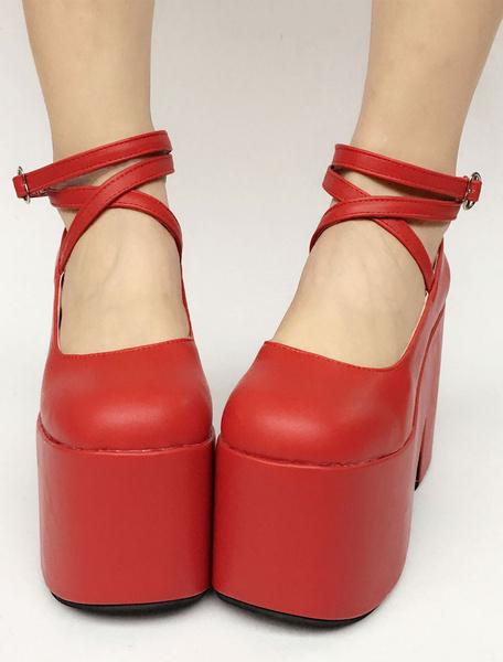 Milanoo Red Lolita Shoes Sweet Platform Straps Lolita Pumps