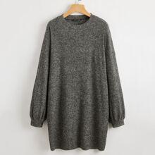 Vestido estilo camiseta tejido de canale de hombros caidos