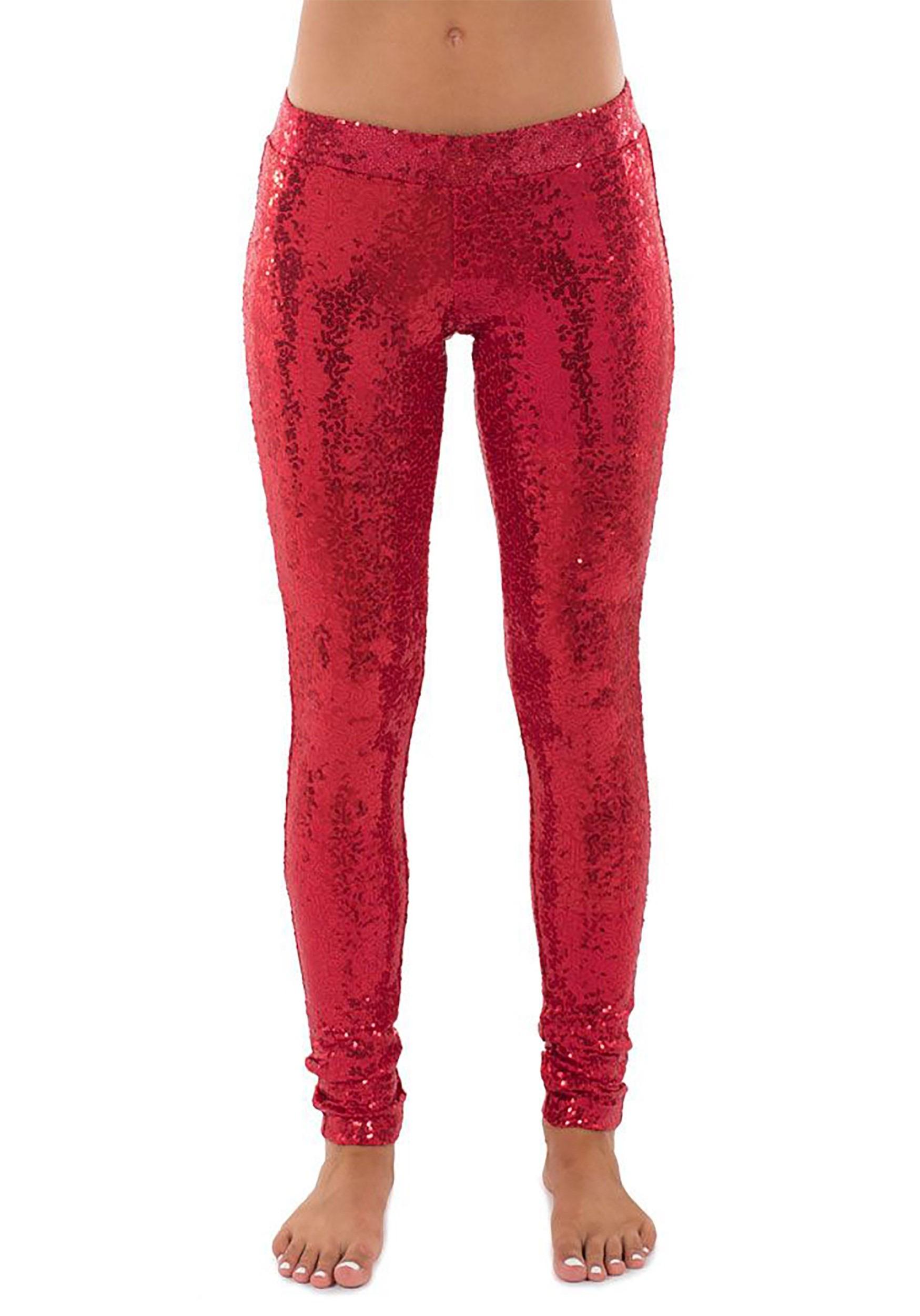 Women's Tipsy Elves Red Sequin Leggings