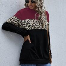Hoodie mit Kontrast Leopard Muster und Farbblock