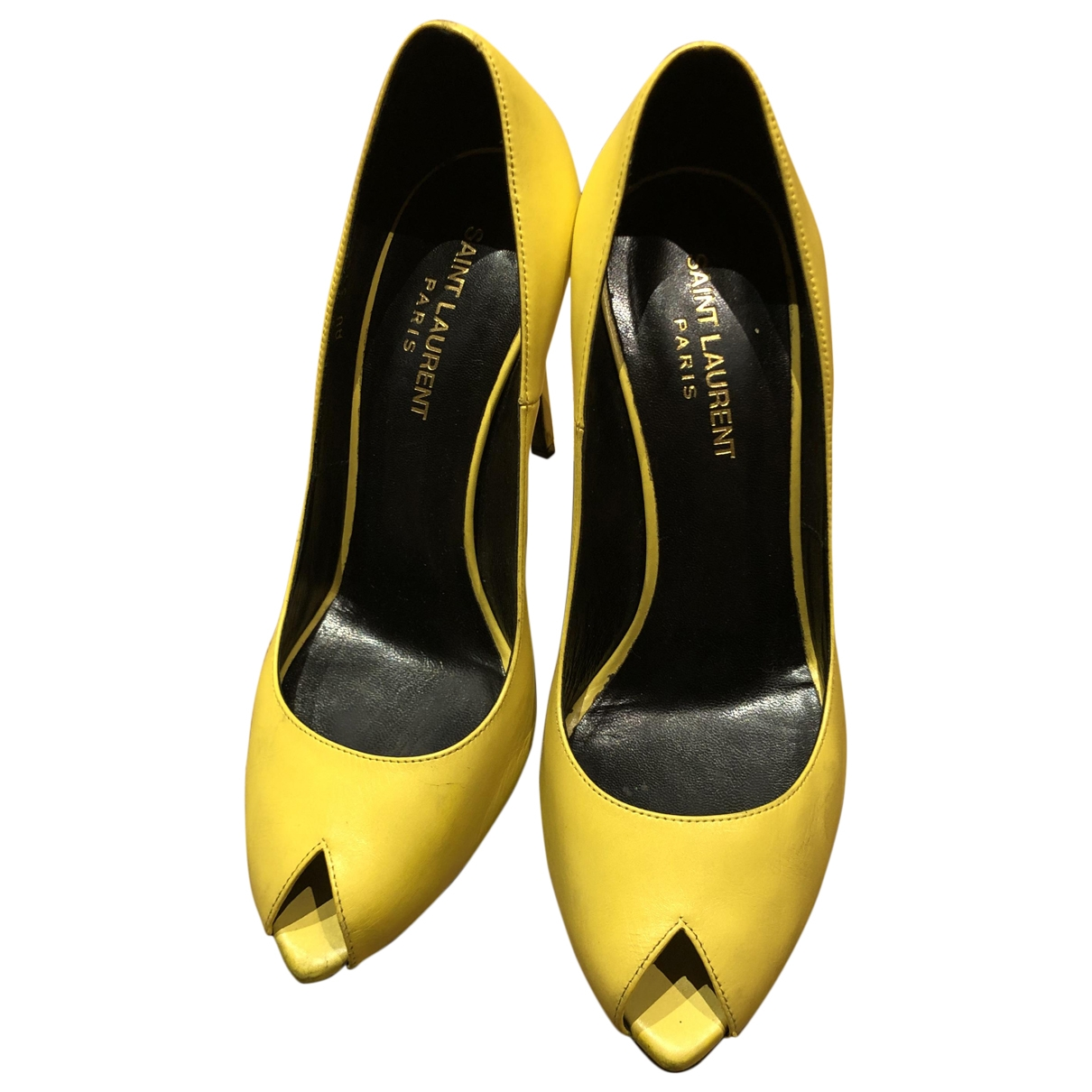 Saint Laurent - Escarpins   pour femme en cuir - jaune