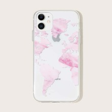 1pc Map Print Clear iPhone Case
