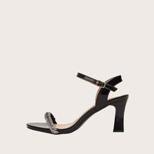 Rhinestone Decor Ankle Strap Heeled Sandals