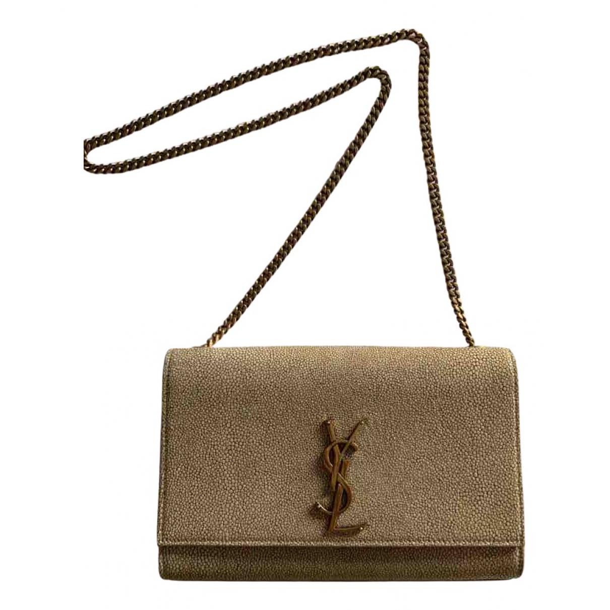 Saint Laurent - Sac a main Kate monogramme pour femme en cuir - beige