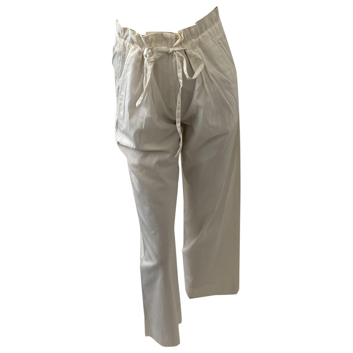 Pantalon en Algodon Blanco Yves Saint Laurent