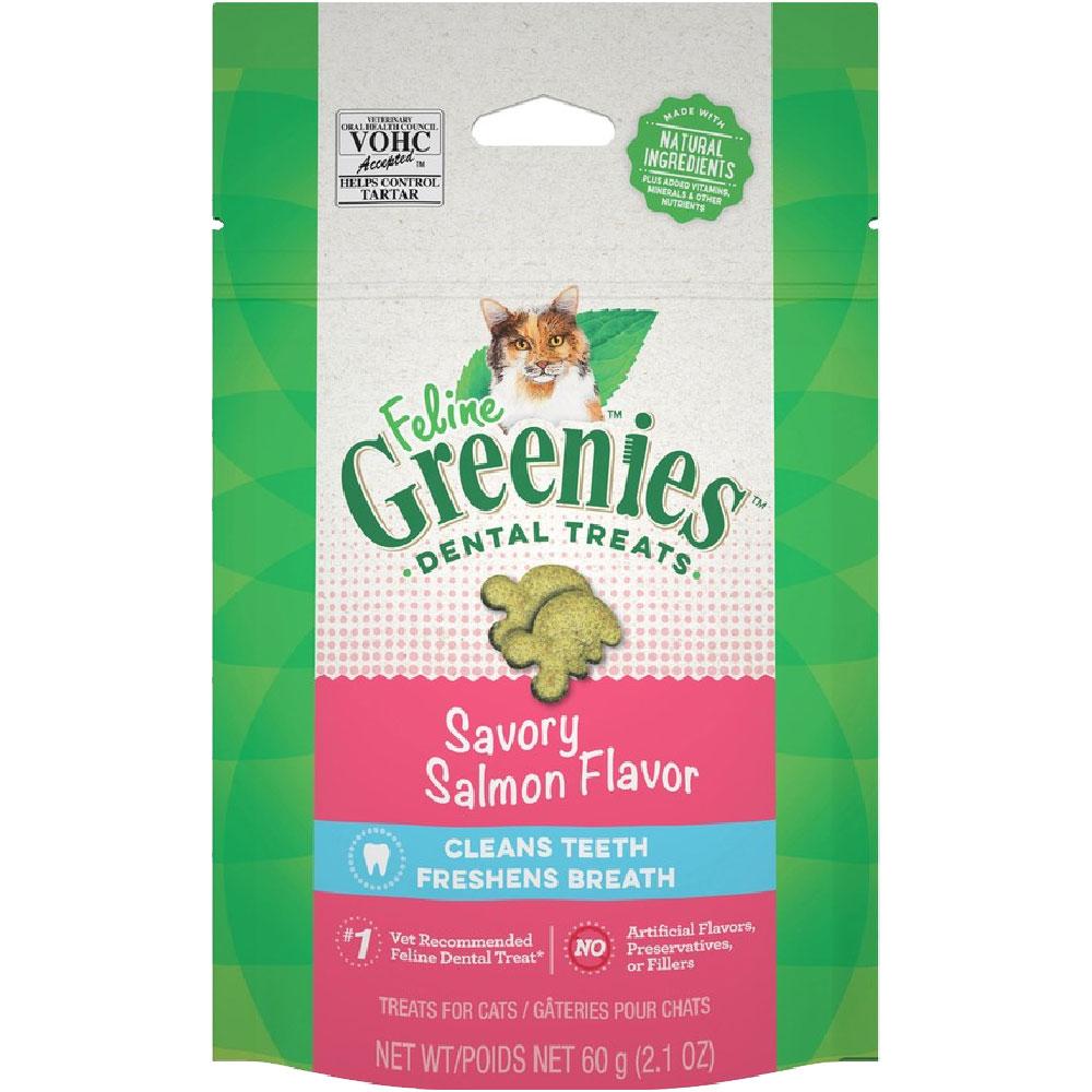 Greenies Feline Dental Treats - Savory Salmon Flavor (2.1 oz)