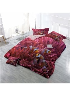 Clownfish and Red Corals Wear-resistant Breathable High Quality 60s Cotton 4-Piece 3D Bedding Sets