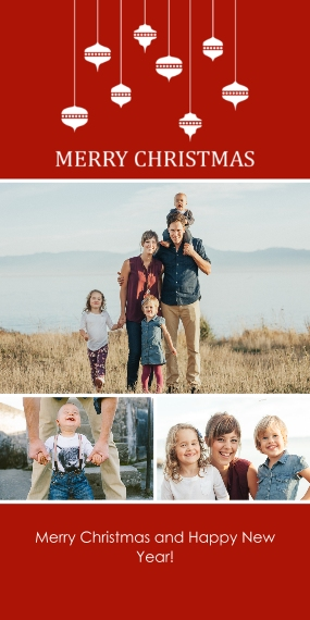 Christmas Photo Cards Flat Matte Photo Paper Cards with Envelopes, 4x8, Card & Stationery -Abundant Ornaments