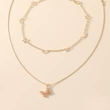 2 Stuecke Halskette mit Schmetterling Anhaenger