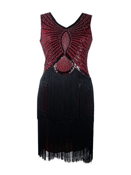 Milanoo 1920s Fashion Outfits Flapper Dress Great Gatsby Vintage With Tassels Black Charleston Dress 20s Party Dress Halloween