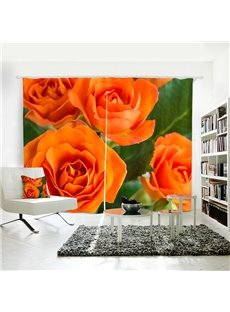 3D Romantic Roses Custom Living Room and Bedroom Curtain