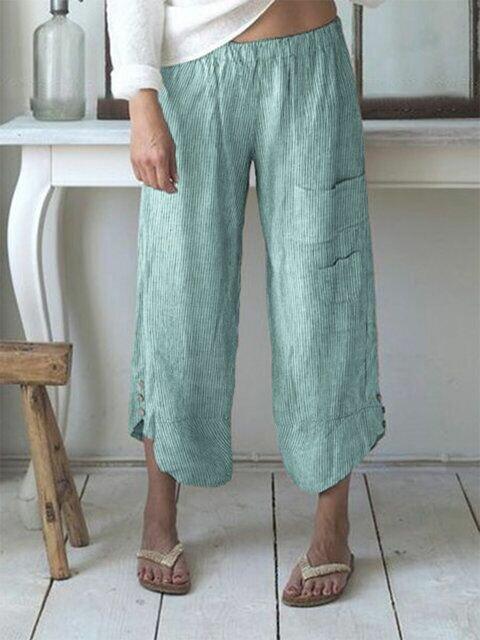 Stripe Elastic Waist Button Pocket Casual Pants