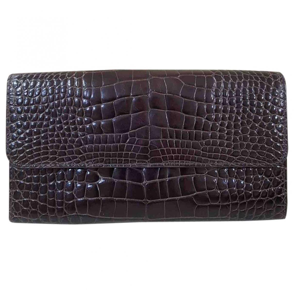 Valextra - Portefeuille   pour femme en crocodile - marron