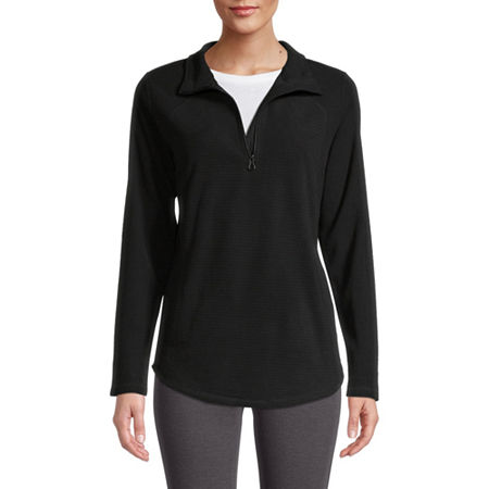 St. John's Bay Active Womens Mock Neck Long Sleeve Quarter-Zip Pullover, Small , Black