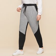 Plus Two Tone Tie Front Sweatpants