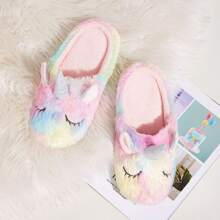 Unicorn Design Fluffy Slippers