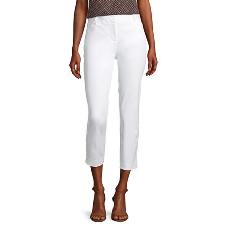 Worthington Womens Low Rise Regular Fit Ankle Pant, 10 , White