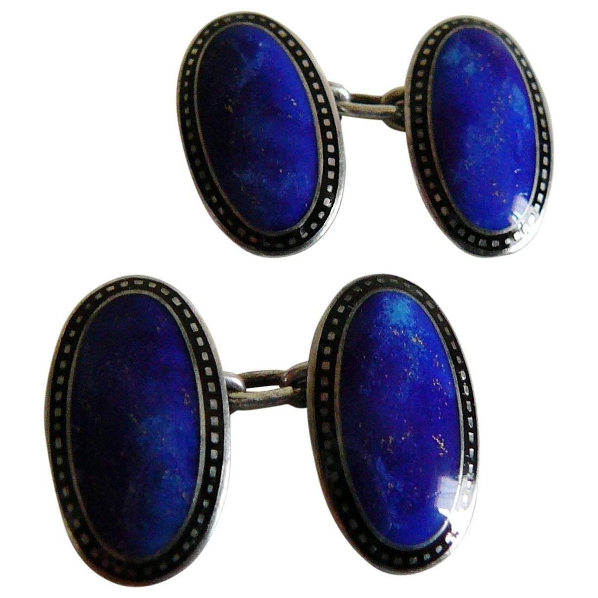 Non Signe / Unsigned \N Manschettenknopfe in  Blau Silber