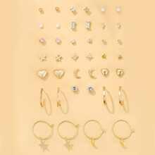 20pairs Faux Pearl Heart Decor Earrings
