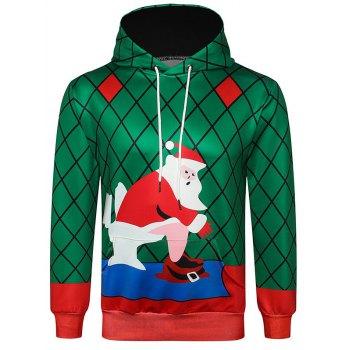 Santa Claus Printed Kanga Pocket Hoodie