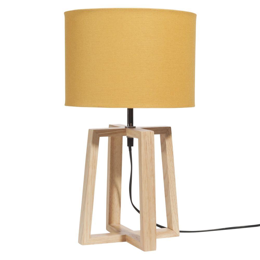 Lampe aus Kautschukholz mit senfgelbem Lampenschirm