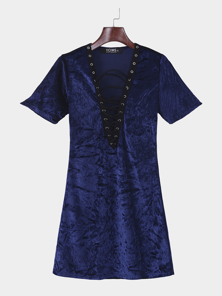 Yoins Blue Sexy Plunging Deep V-neck Lace-up Front Dress