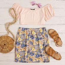 Off Shoulder Puff Sleeve Rib-knit Crop Top & Floral Skirt Set