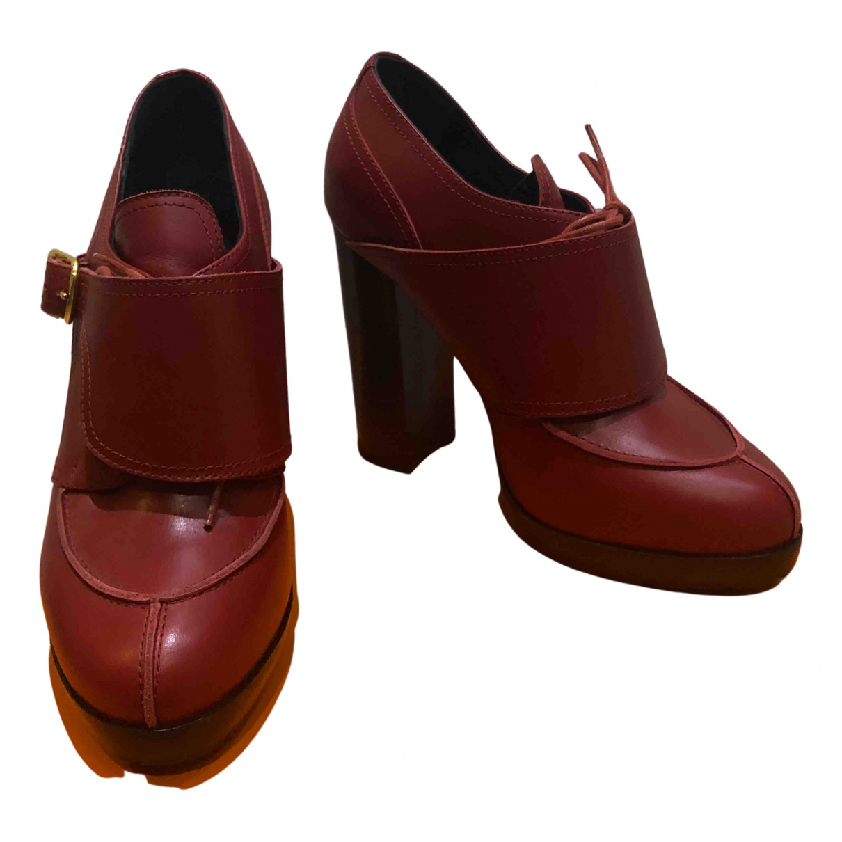 Hermès \N Red Leather Ankle boots for Women 36 EU