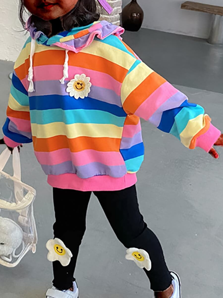 LW Lovely Casual Hooded Collar Striped Patchwork Multicolor Girl Hoodie