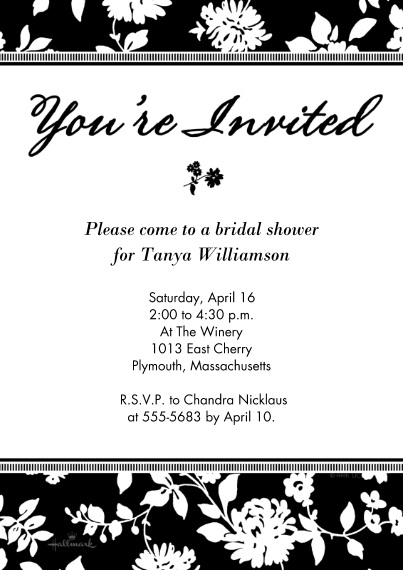 Party Invitations 5x7 Cards, Premium Cardstock 120lb with Elegant Corners, Card & Stationery -Black & White Floral