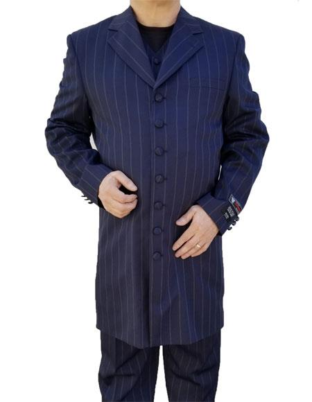 Men's Single Breasted Windowpane Plaid Pattern Navy Blue Zoot Suit