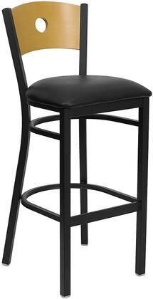 XU-DG-6F6B-CIR-BAR-BLKV-GG HERCULES Series Black Circle Back Metal Restaurant Bar Stool - Natural Wood Back Black Vinyl