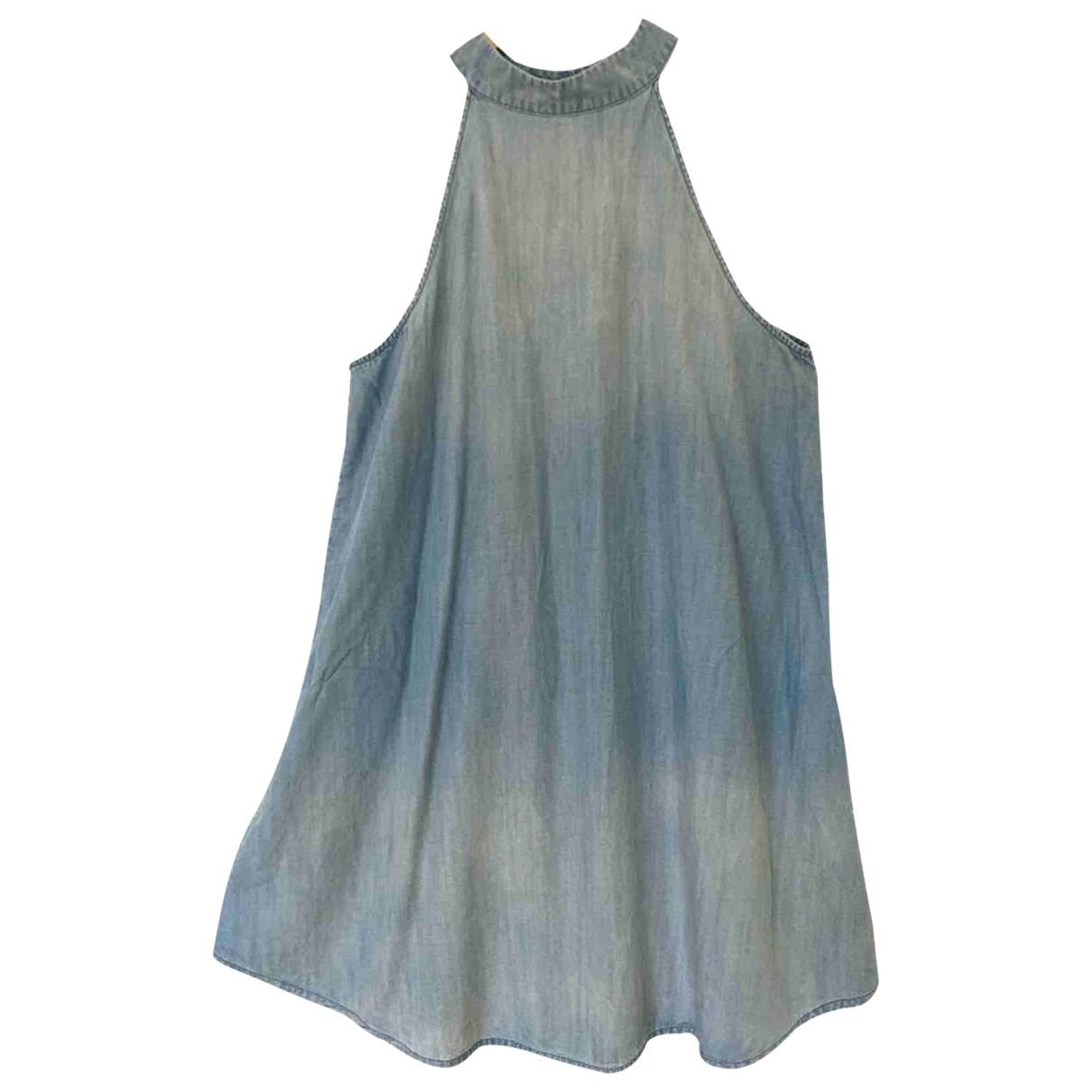Anthropologie - Robe   pour femme en coton - elasthane - bleu