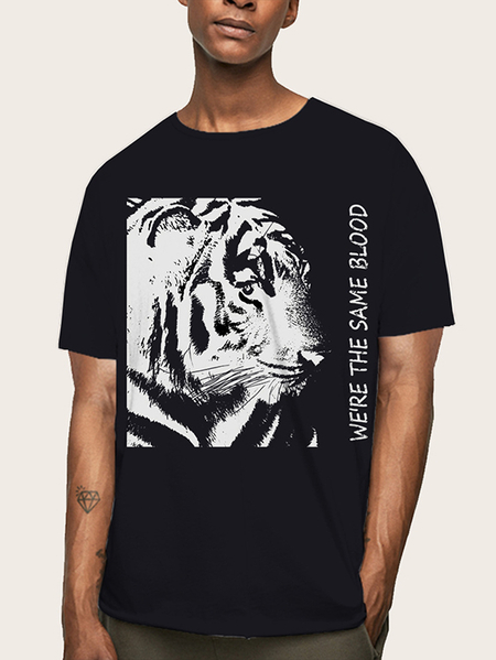 Yoins Men Summer Casual Soft Tiger Animal Print T-Shirt