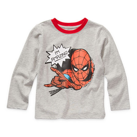 Okie Dokie Toddler Boys Crew Neck Spiderman Long Sleeve Graphic T-Shirt, 3t , Gray