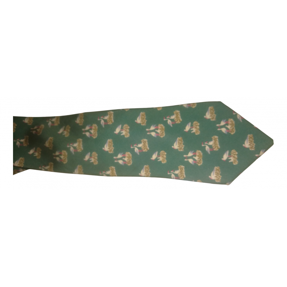 Hermès N Green Silk Ties for Men N