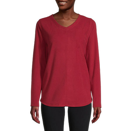 St. John's Bay-Womens V Neck Long Sleeve Polar Fleece Pullover, Xx-large , Red