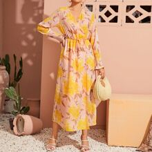 Floral Print Shirred Cuff Belted Wrap Dress