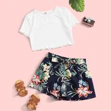 Girls Lettuce Trim Rib-knit Top & Belted Tropical Shorts Set