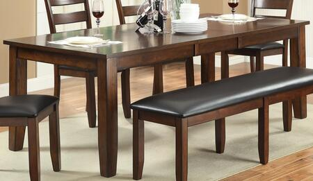 Arianna Collection Dining Table with 18Leaf  Rectangular Shape  Apron  Tropical Hardwood and Wood Veneer Construction in Brown