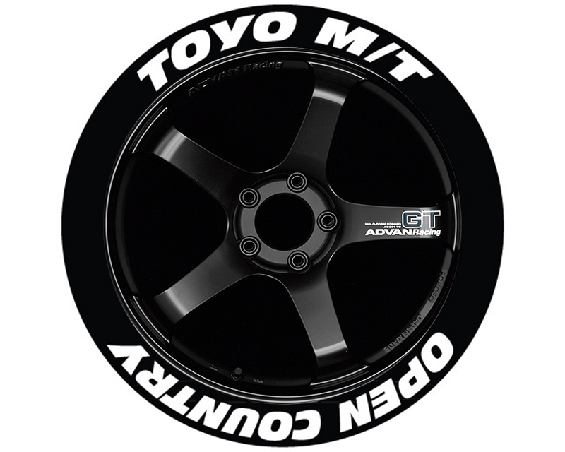 Tire Stickers TOYOPE-1921-1-4-Y Yellow 'Toyo Tires Open Country' Permanent Raised Rubber Lettering Set of 4- 19