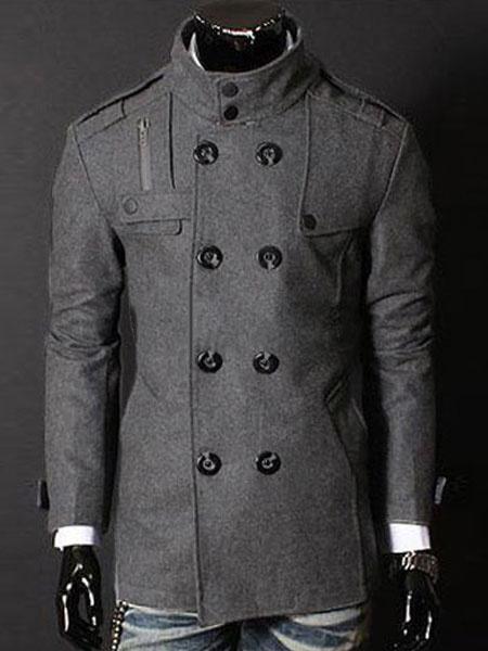 Milanoo Men Peacoat Black Winter Coat Stand Collar Long Sleeve Short Jacket