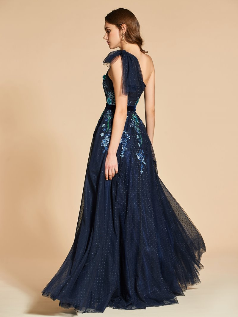 Ericdress A Line One Shoulder Applique Dot Tulle Evening Dress Attire