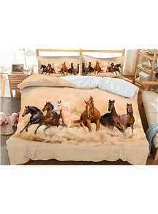 Six Running Horses Soft 3D Printed Polyester 3-Piece Bedding Sets/Duvet Covers