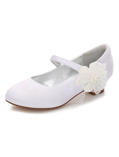Milanoo White Flower Girl Shoes Satin Round Toe Flowers Detail Party Shoes Mary Jane Shoes For Kids