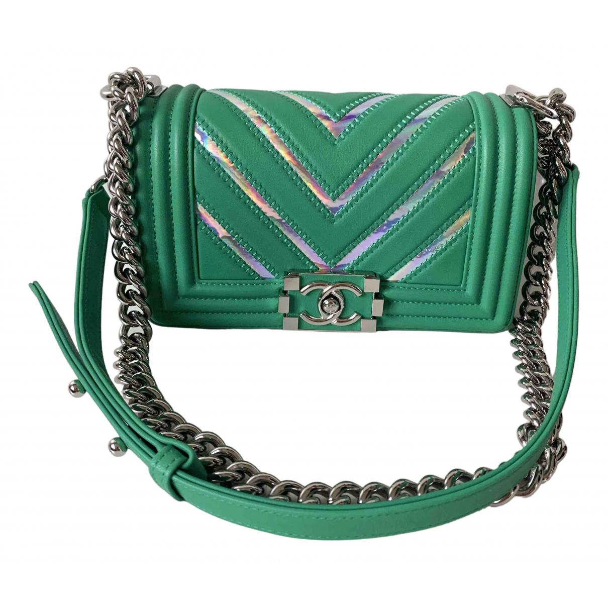 Chanel Boy Green Leather handbag for Women N