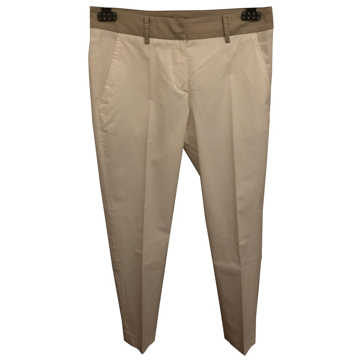 Altea \N Beige Cotton Trousers for Women 42 IT