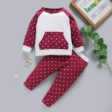 Baby Girl Polka Dot Panel Raglan Sleeve Sweatshirt & Sweatpants