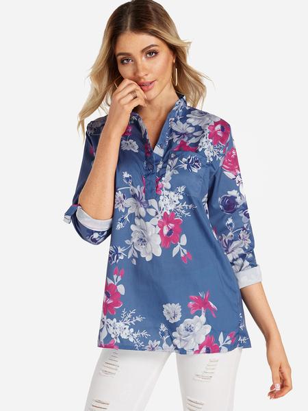 Yoins Blue Button Design Random Floral Print Side Poacket 3/4 Length Sleeves Shirt